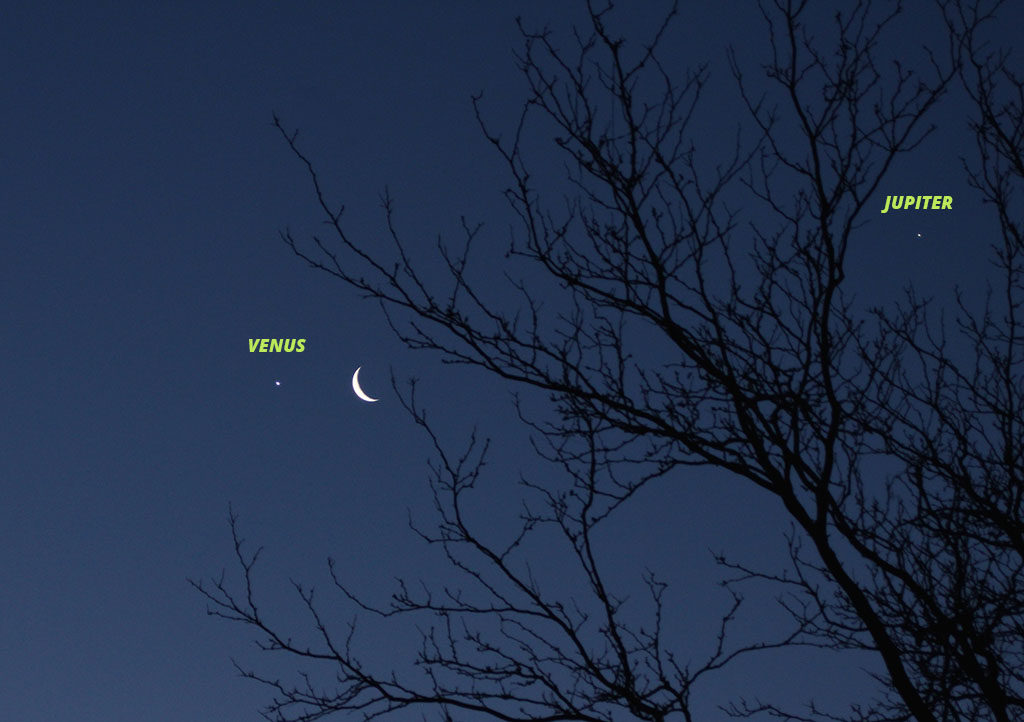 Venus, Moon, and Jupiter